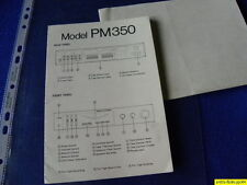 Marantz PM 350 Owner's Manual & Schematic Diagram Operating Instructions  New