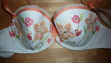 SIMONE PERELE Bra 34C WHITE Orange Pink Lace CARACAS BNWT Padded Designer RARE!!
