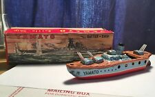 """1950's Yamato Tin """"Battle-Ship"""" With Box Made In Japan All Original And Beauty!"""