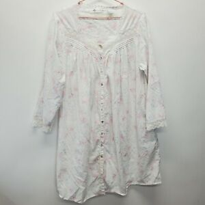 EILEEN WEST Cotton Nightgown White Lace Floral Long Button Up Large pastel
