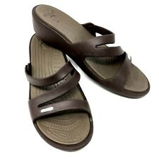 Crocs Women Size 10 Patricia Brown Wedge Cross Over Slides Slip On Sandals