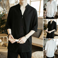 Men's Cotton V-Neck Chinese Style Tops 3/4 Sleeve Casual Loose Shirts Blouse Tee