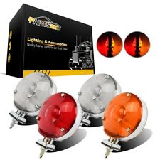 "4x4"" Double Face Red/Amber 24LED Turn Signal Tail Stop Pedestal Light Stud Mount"