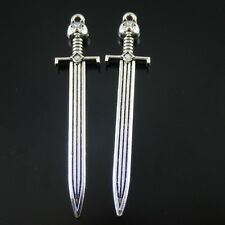 Antique Silver Alloy Cat Head Swords Pendants Charms Findings Crafts 5x 50595