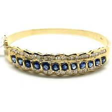 18K Yellow Gold Sapphire Diamond Bangle. September Birthstone