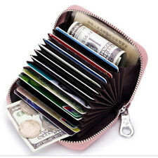US Leather Credit Card Holder Wallet RFID Blocking Zip Purse For Women Men