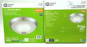 COMMERCIAL ELECTRIC 11 in. 60-Watt Brushed Nickel LED Flush Mount (2-PACK)