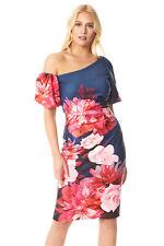 Puff Sleeve One Shoulder Floral Scuba Dress - Women Ladies Roman Originals