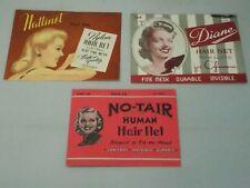 3 Vintage Hair Nets in Original Packages-Nice Graphics