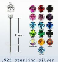 2pcs. 22g~1.5mm Round C.Z. Prong Set .925 Sterling Silver Straight Nose Stud