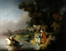 Stunning Oil painting Rembrandt Europa nightmare women by beach & carriage