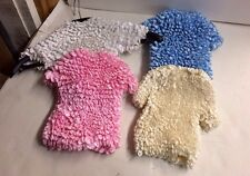 4pc  Ladies Popcorn Blouse. Short Sleeve Shirt. New top blue white pink cream