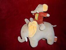 Doudou Moulin Roty Peluche Eléphant Les Loustics Musical Beige et Orange