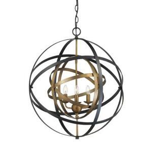 Bel Air Lighting Monrovia 3-Light Antique Gold and Black Pendant