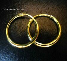 Men's polished 14k yellow Gold Filled Plated Hoop Circle Earrings Gift /UK