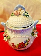 SUGAR BOWL PORCELAIN 2 HANDLED 3D FLOWERS, BLUE PINK WHITE WITH GOLD TRIM