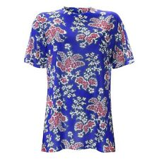 JW Anderson X Topshop Graphic Floral Tee T Shirt Blue Red White - S/M 8 10 12