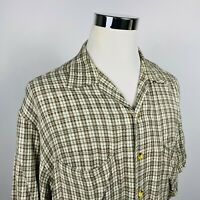 Guess Jeans Mens XL Vintage Casual Lounge Shirt Green Brown Plaid Rayon