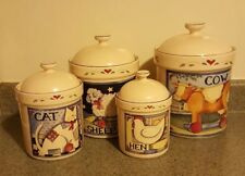 Susan Winget Canister Set 4 Reversible Hearts Farm Animals Ivory Hen Cat Sheep