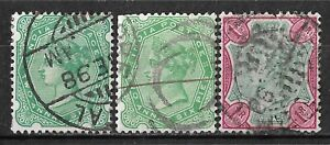 1892 INDIA set of 3 USED STAMPS (Michel # 43a,43b,44b) CV €4.80