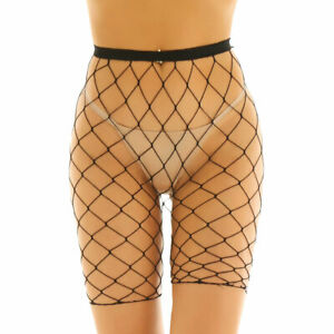 Women Fishnet Hollow Out Trousers High Waisted Pants Rave Dance Half Hot Pants