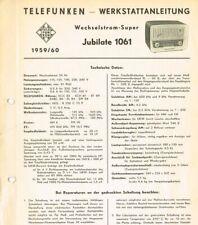 Telefunken Jubilate 1061 Röhrenradio Schaltplan 6 Seiten Original