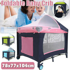 Foldable Newborn Baby Crib Playpen Travel Infant Bassinet Bed w/ Net &