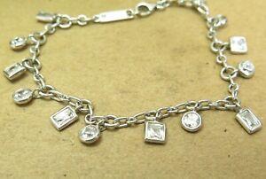 """Tycoon Dangle CZ 925 Sterling Silver Chain Link Bracelet 7.25"""" 8.4g"""