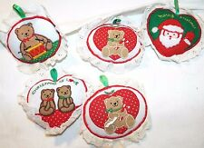 5 Vintage 1984 Lace Christmas Stuffed Handing Signs R.Dakin & Co. Made In Korea
