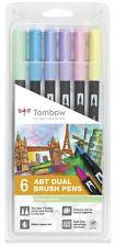 Tombow Dual Brush Pen Pastels (6-Pack) w/Free Tombow Fudenosuke Brush Pen