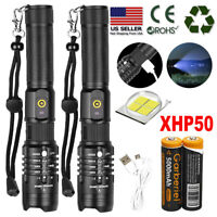 Ultra Bright 990000LM 18650 XHP50 LED Flashlight Zoomable USB Rechargeable Torch