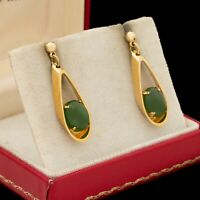 Antique Vintage Deco Mid Century 14k Gold Filled GF Nephrite Jade Earrings 4g