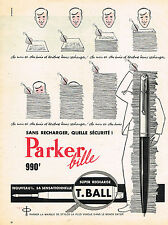 PUBLICITE ADVERTISING 045  1959  PARKER stylo bille T.BALL  sans recharge