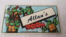 1990 TMNT Name Wall Door Sign Sticker Teenage Mutant Ninja Turtles Allan's Room