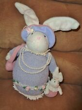 Bunny Mom Baby Purple Sweater Dress Pearl Necklace Easter Decoration Plush