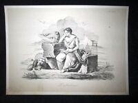 Incisione d'allegoria e satira L'abbandono di Roma Don Pirlone 1851
