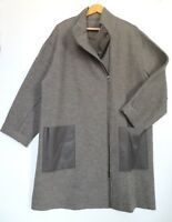 RRP £445, OSKA SIZE 3, Taupe 100% Boiled Wool / 100% Leather Trim Coat OVERSIZED