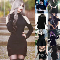 Fashion Woman's dress Gothic Style Cold Black Punk Gown Street Slim Fit Skirt