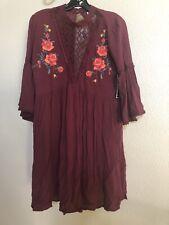 Self Esteem Peasant Boho Sun Dress Spanish Rose Medium ( Embroidering, Lace
