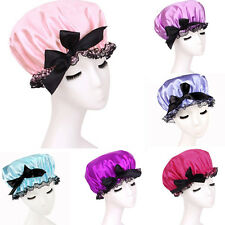 Reusable Girl Women Bowknot Shower Cap Bath Clear Satin Hair Spa Hat