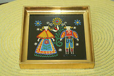 VINTAGE MINIATURE ART FOLK HAND ENAMELED PICTURE FRAMED MADE IN AUSTRIA