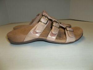 "Womens Size 6 Wide Vionic ""Misa"" Pink Shimmer Strappy Slide Sandals"