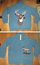 Vintage 1960s Wool Buck Deer Cardigan Sweater Reindeer Coat Handmade THICK L, XL