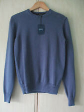 mens HACKETT BLUE COTTON CREW NECK JUMPER SIZE XS NEW WITH ORIGINAL TAGS
