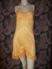 Vintage Sunshine Orange Lacy Silky Nylon Empire Mini Slip Lingerie 32