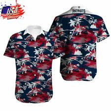 US New England Patriots Hawaiian Shirts Summer Beach Short Sleeve Buttoned Shirt
