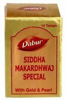 Dabur Ayurvedic Siddha Makardhwaj Special Tablets with Gold -10 Tablets per Pack