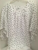 ELLE 2 Piece Blouse XXL White w Black Polk Dots Sheer Top  Atta Tank Flutter Slv