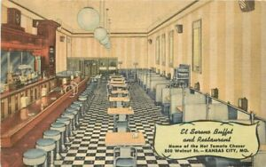El Sereno Buffet Restaurant Kansas City Missouri Teich roadside Postcard 21-1025