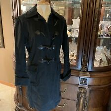 Gap Womens Black Toggle Trench WARM Winter Hooded Pea Coat Jacket M